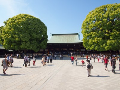 Inside the main courtyard, looking towards the main shrine building